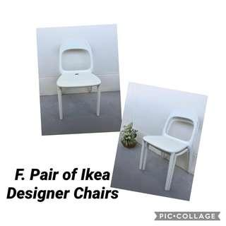 🚚 Rare! Ikea White Designer Chairs (set of 2)