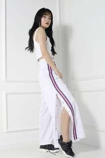 🚚 Ohsofickle Stripe Side Button Snap Pants (White)