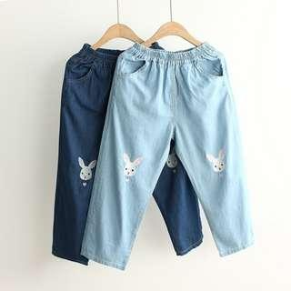 Denim pant with Bunny embroidery