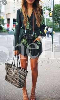 Dark Green Challis Long Sleeve Designer Floral Shirt Dress