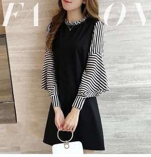 👗  Flare Stripe Sleeve Dress   