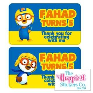 Pororo Theme Birthday Sticker Label for Party Goodie Bag Door Gift Favor Customised Customisable rectangle
