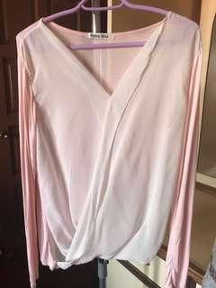 Chiffon layered pink korean blouse #APR10