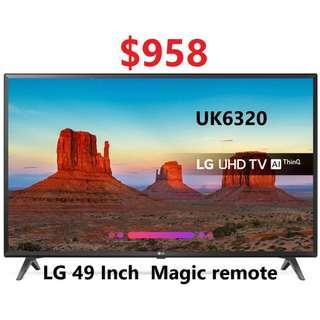 LG 49 inch UHD 4k Smart TV UK6320