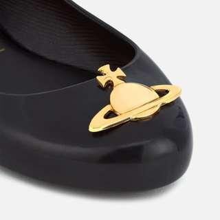 【代購】Vivienne Westwood for Melissa Women's Space Love 20 Ballet Flats - Black Orb 黑色平底鞋 金色經典Orb logo 水鞋 雨鞋