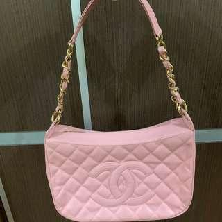 CHANEL CC Pink Quilted Caviar Leather Timeless Shoulder Bag 手袋 #MILAN02
