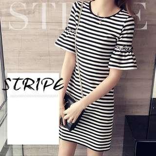 Flute Sleeve Stripe Dress