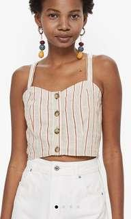 Topshop Striped Cropped Bralet Top