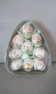 全新 Easter egg 復活蛋禮盒,-盒9隻,真蛋大小,3款圖案