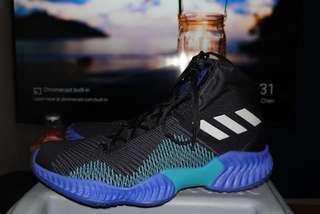Adidas ultra bounce 2018 black & blue ukuran 44 2/3