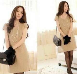 Light brown polka dots short sleeve dress