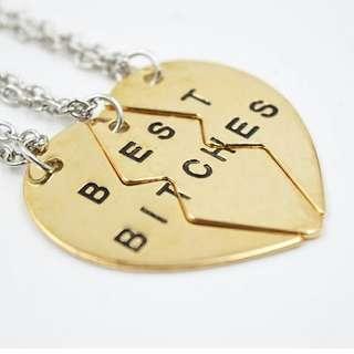 Best Bitches Necklace Set Of 3 Friendship Necklace Best Friend Heart Pendant Necklace Set Bff Best Bitches Valentine Gifts