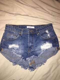 high cut denim shorts