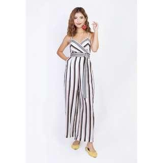 AMILLY STRIPES JUMPSUIT IN PINK