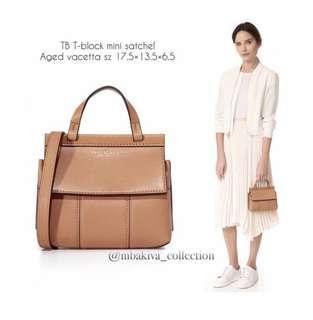TB T-block mini satchel. Aged vacetta