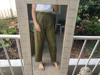 Khaki green pants / trousers / slacks