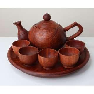 Handmade solid wood Big teapot set (tray + teapot + 5 teacups) from Burma Myanmar.