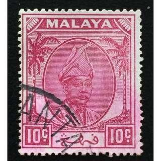 Malaya 1950 Pahang Sultan Sir Abu Bakar 10c Used SG#61 Q186