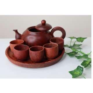 Handmade solid wood Small teapot set (tray + teapot + 5 teacups) from Burma Myanmar.