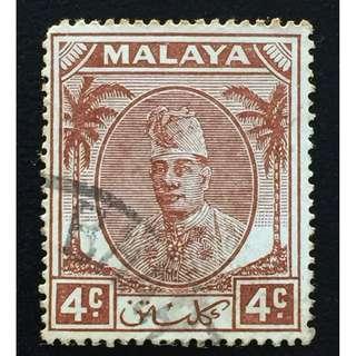 Malaya 1951 Kelantan Sultan Ibrahim 4c Used SG#64 Q188