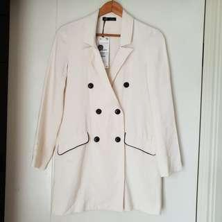 Coat Zara Woman Putih Baru Asli Original