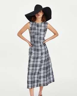 NEW Zara Linen Checkered Dress