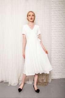 TSW Joslyn Faux Wrap Midi Dress In White