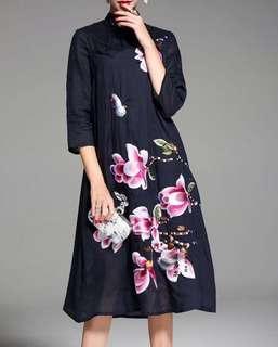 BNWT Black Floral Cheongsam Style Dress