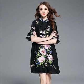 BNWT Black Floral Cheongsam Set