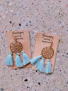 Handmade Pastel Blue Tassel Earrings