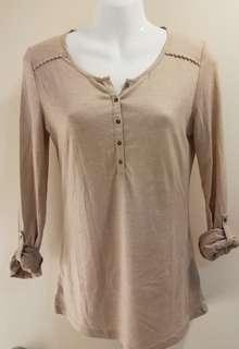 Pull & Bear Long Sleeve Foldable Round Neck Nude Shirt