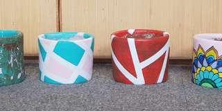 Pots or planters clay handpainted