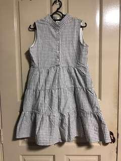 Button Down Tiered Babydoll Dress (Grey Gingham)