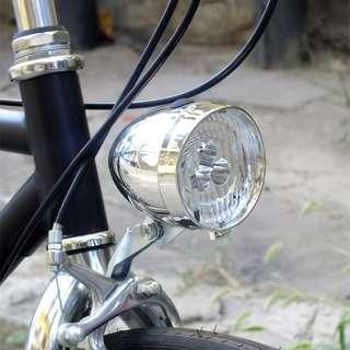 全新復古精品:自行車前叉燈 (3LED前燈、復古銀、時尚黑、防水) 單車大燈 腳踏車頭燈 老式鋼管車燈 砲彈燈 炮彈燈