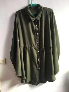 Army Green Long Blouse