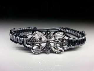 925 sterling silver black diamond leather bracelet