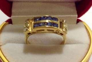 Authentic Sapphire and Diamond Ring, 14K Gold