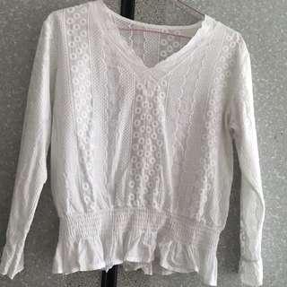 🚚 White Lace Peplum Blouse