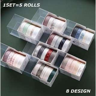 5 rolls/set washi tape lace planner bullet journal diary scrapbook