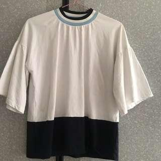 🚚 Ulzzang Blue and White Blouse
