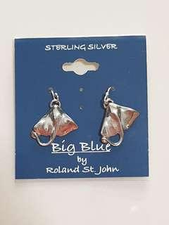 Authentic Big Blue by Roland St. John MINI REALISTIC MANTA RAY STERLING EARRINGS