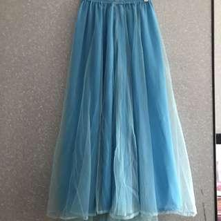🚚 Blue Long Tulle Skirt / Elsa Skirt