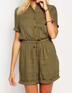 Camo Green Buttoned-up Romper