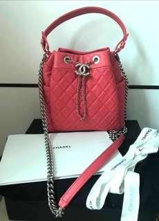 Chanel bag 水桶款 羊皮 bucket bag 桃紅色