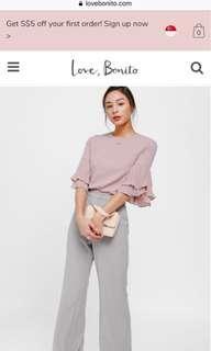 Love bonito Adanya Pleated Layer Sleeve Top