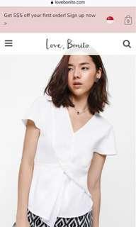 Love bonito Talsha twist front top white