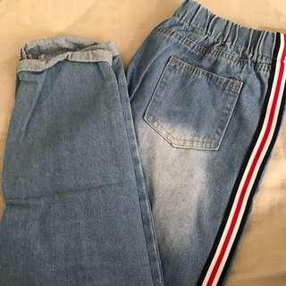 Denim mom Jeans with stripes
