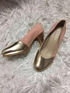 Pink and Gold high heel shoes
