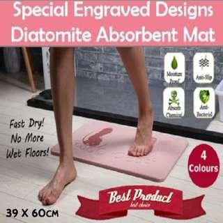 🚚 【SALE】Premium Diatomite Japan Bath Mat Engraved Designs 8 of ♥ / Footprints Super Absorbent Water*Fast Dry*Antimold