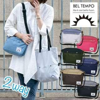 (((熱賣款$278包順豐自取))) 2色 全新日本直送 Bel Tempo 2合1 多功能 手提袋 斜孭袋 A4 環保袋